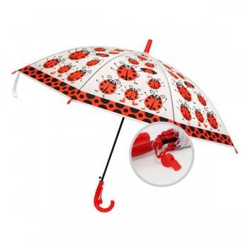 paraguas-infantil-transparente-silbato-mariquitas-rojo