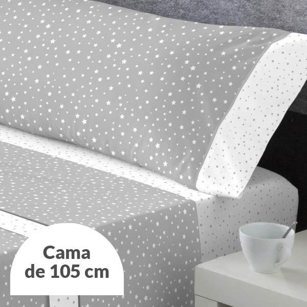 JUEGO DE SÁBANAS ALASKA GRIS CAMA 105