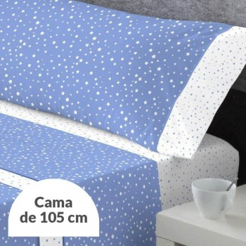 JUEGO DE SÁBANAS ALASKA AZUL CAMA 105