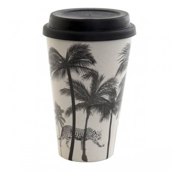 MUG BAMBÚ RECICLADO BLACK PALMS