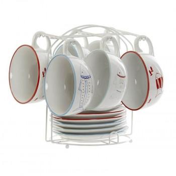 CAFE SET 6 GRES METAL PECES 24X23X22 180 ML.