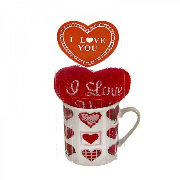 TAZA TAMAÑO DE CAFE CON CORAZON DE PELUCHE I LOVE YOU