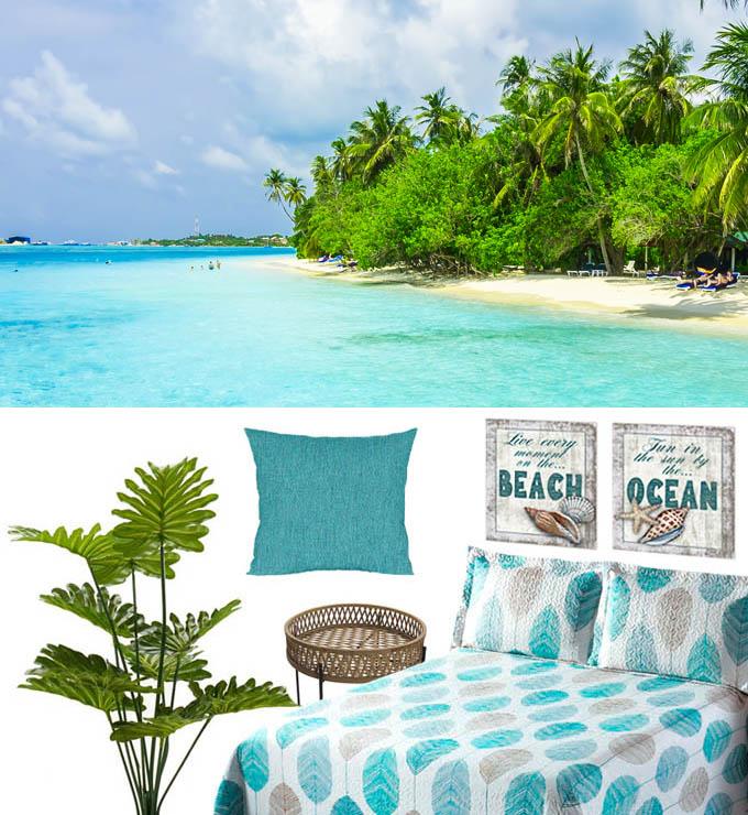 decoración dormitorio azul marinero